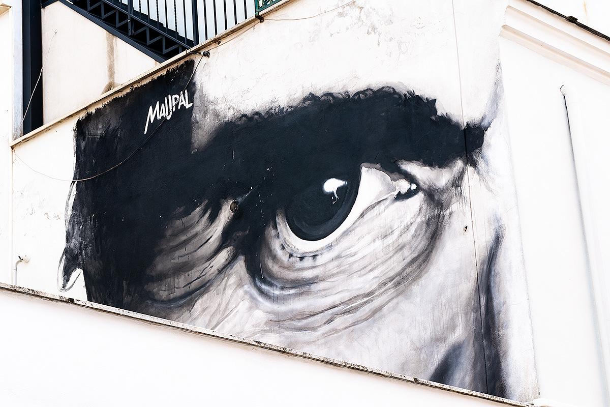 Street Art à Rome : détail du visage de Pasolini